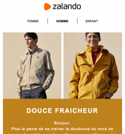 Newsletter Zalando version homme