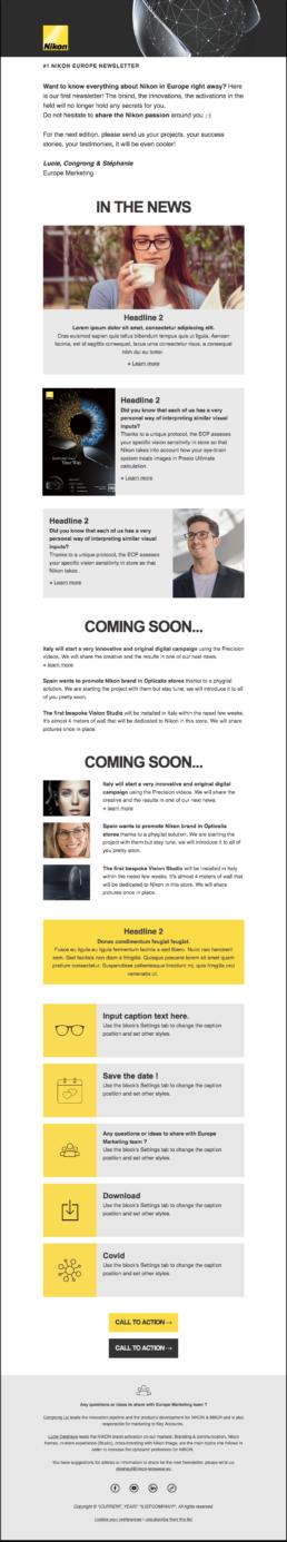Newsletter Mailchimp - Nikon Lenswear